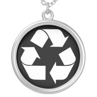 Reciclando el símbolo - blanco (para los fondos colgante redondo