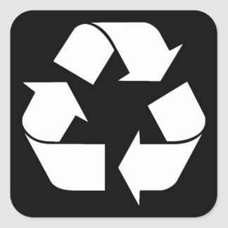 Reciclando el símbolo - blanco (para los fondos calcomania cuadradas personalizada