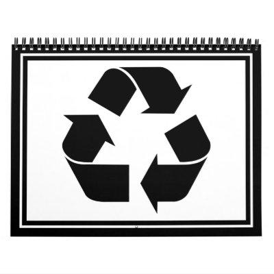 Reciclando el símbolo - negro calendarios