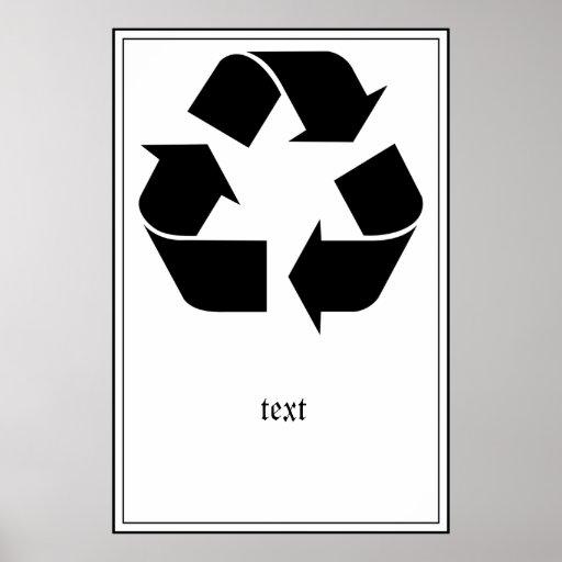 Reciclando el símbolo - negro póster