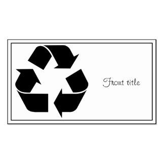 Reciclando el símbolo - negro tarjetas de visita