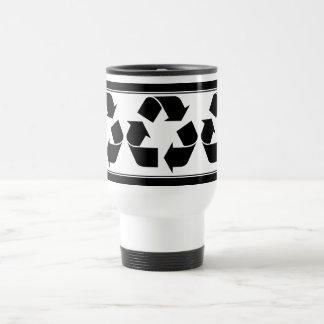 Reciclando el símbolo - negro tazas de café