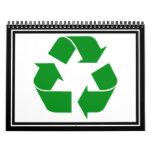 Reciclando el símbolo - verde calendarios de pared