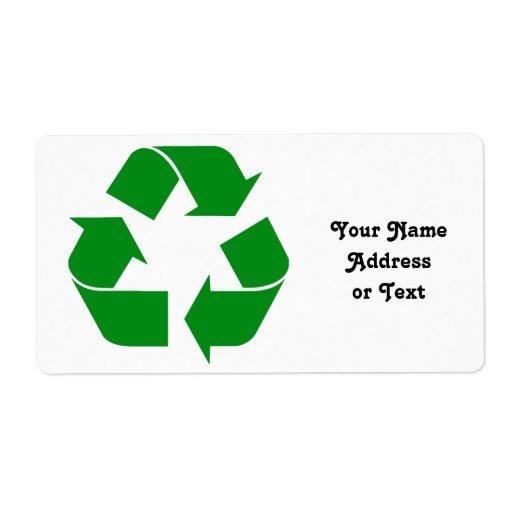 Reciclando el símbolo - verde etiquetas de envío