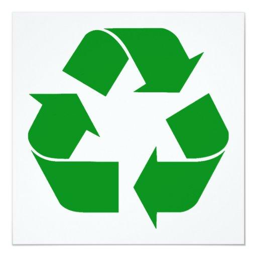 """Reciclando el símbolo - verde invitación 5.25"""" x 5.25"""""""