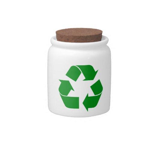 Reciclando el símbolo - verde jarras para caramelos