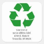 Reciclando el símbolo - verde colcomanias cuadradas personalizadas