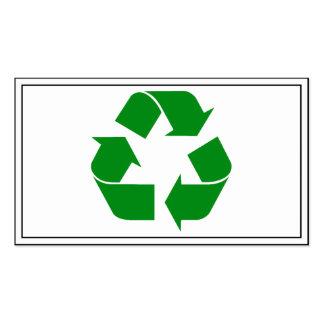 Reciclando el símbolo - verde tarjetas de visita