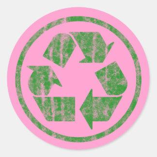 Reciclando para ahorrar la tierra del planeta, pegatina redonda