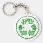 Reciclando para ahorrar la tierra del planeta, sím llavero personalizado