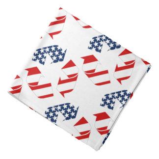 Reciclando símbolo - blanco y azul rojos bandana