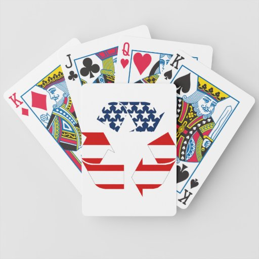 Reciclando símbolo - blanco y azul rojos baraja de cartas