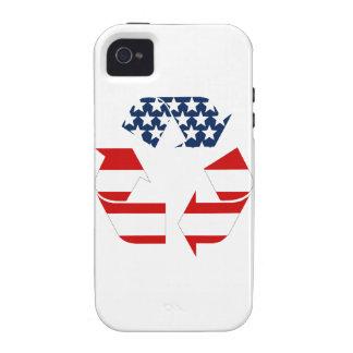 Reciclando símbolo - blanco y azul rojos iPhone 4/4S funda