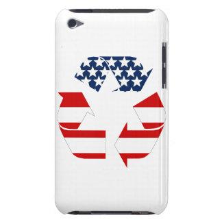 Reciclando símbolo - blanco y azul rojos iPod Case-Mate carcasa