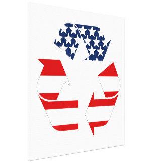 Reciclando símbolo - blanco y azul rojos lona envuelta para galerias