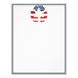 Reciclando símbolo - blanco y azul rojos membrete a diseño