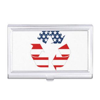 Reciclando símbolo - blanco y azul rojos caja de tarjetas de negocios