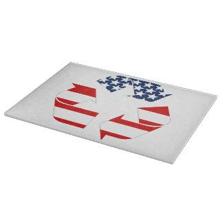 Reciclando símbolo - blanco y azul rojos tablas de cortar