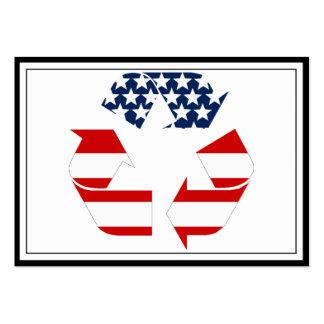 Reciclando símbolo - blanco y azul rojos plantillas de tarjetas de visita