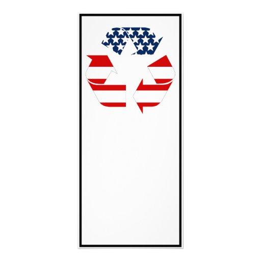 Reciclando símbolo - blanco y azul rojos tarjetas publicitarias personalizadas