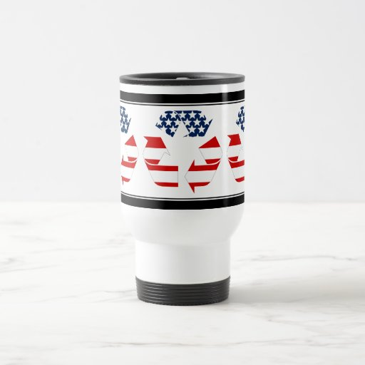 Reciclando símbolo - blanco y azul rojos tazas de café