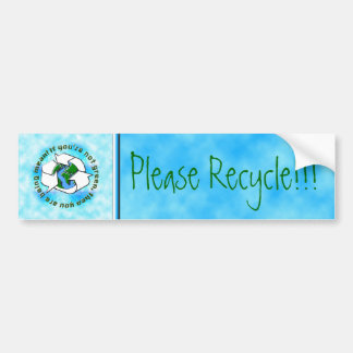 Recicle a la pegatina para el parachoques etiqueta de parachoque
