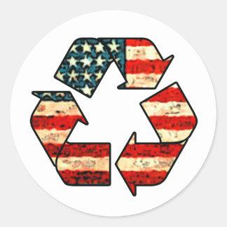 Recicle a los pegatinas de América Pegatina Redonda