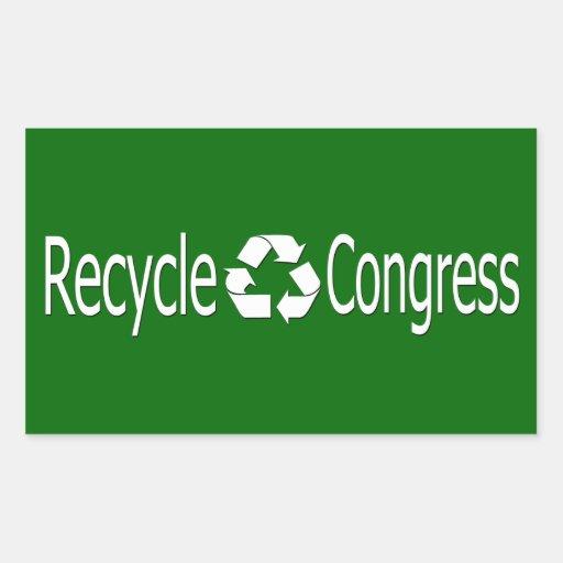 Recicle a los pegatinas del congreso pegatina rectangular
