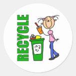 Recicle a los pegatinas del Día de la Tierra Pegatina Redonda