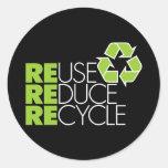 Recicle a los pegatinas etiquetas redondas