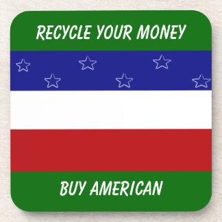 Recicle a su americano de la compra del dinero posavasos para bebidas