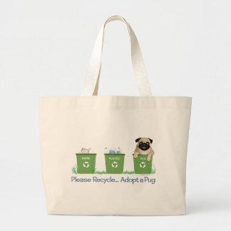 Recicle, adopte por favor un barro amasado bolsa tela grande