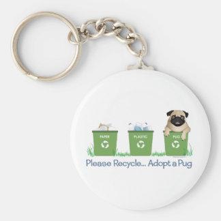 Recicle, adopte por favor un barro amasado llavero redondo tipo pin