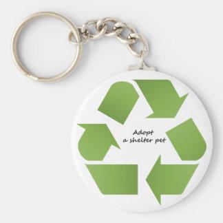 Recicle. Adopte un animal doméstico del refugio Llavero Redondo Tipo Pin
