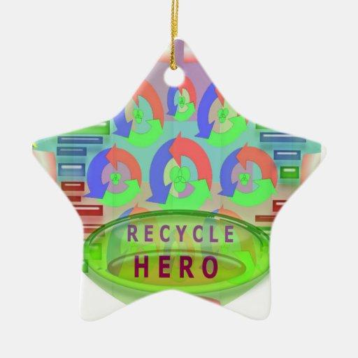 Recicle al héroe - inspiración del premio de la adorno de cerámica en forma de estrella