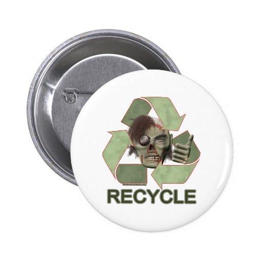Recicle al zombi pin redondo 5 cm