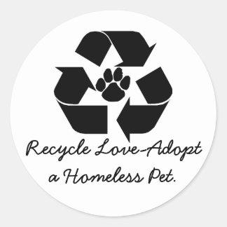 Recicle Amor-Adoptan a los pegatinas sin hogar de Pegatina Redonda