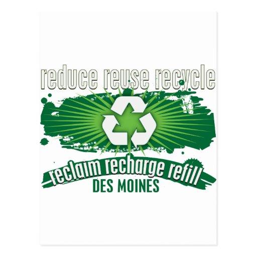 Recicle Des Moines Tarjeta Postal