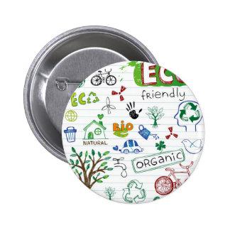Recicle Eco amistoso Pin Redondo De 2 Pulgadas