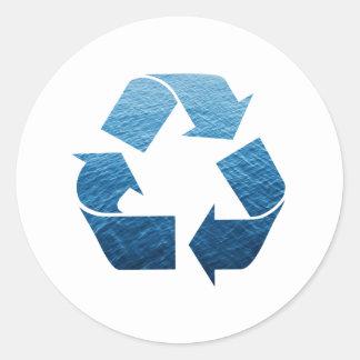 Recicle el agua pegatina redonda