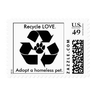 Recicle el AMOR., adopte a un mascota sin hogar. Timbres Postales