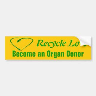 Recicle el amor pegatina para auto