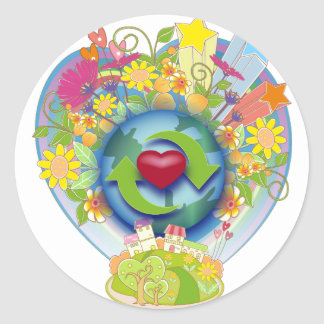 Recicle el amor pegatina redonda