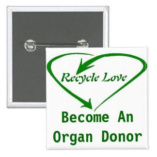Recicle el amor pin cuadrado