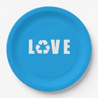 Recicle el amor plato de papel de 9 pulgadas