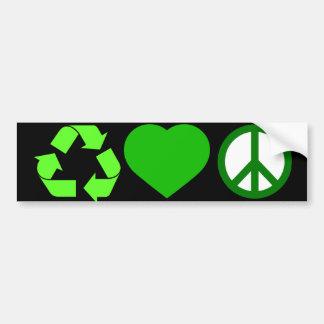 Recicle el amor y la paz pegatina para auto