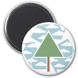 Recicle - el árbol -1 imán redondo 5 cm