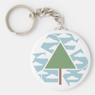 Recicle el árbol y el cielo llavero redondo tipo pin