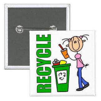 Recicle el botón pin cuadrado