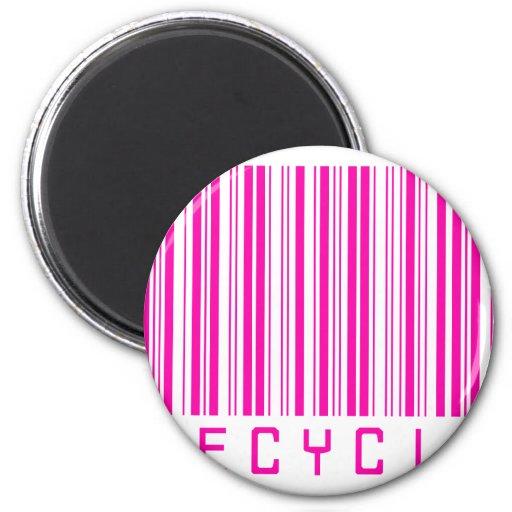 Recicle el código de barras rosado imán redondo 5 cm